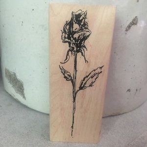 Wood block ink rubber stamp rose design
